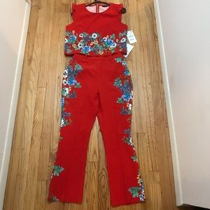 Zara Red Floral Top And Pants Matching Set